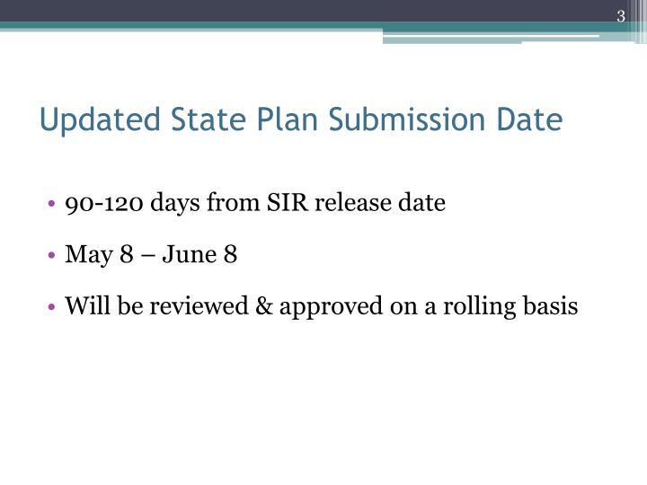 Updated State Plan Submission Date