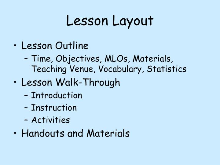 Lesson Layout