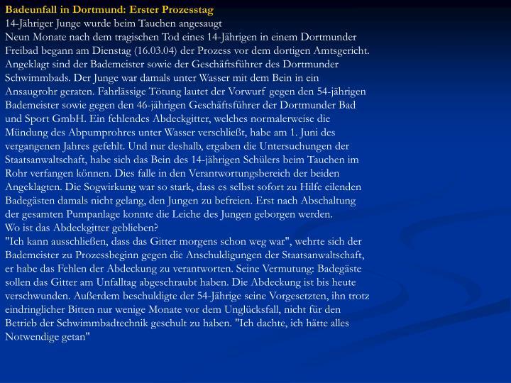 Badeunfall in Dortmund: Erster Prozesstag