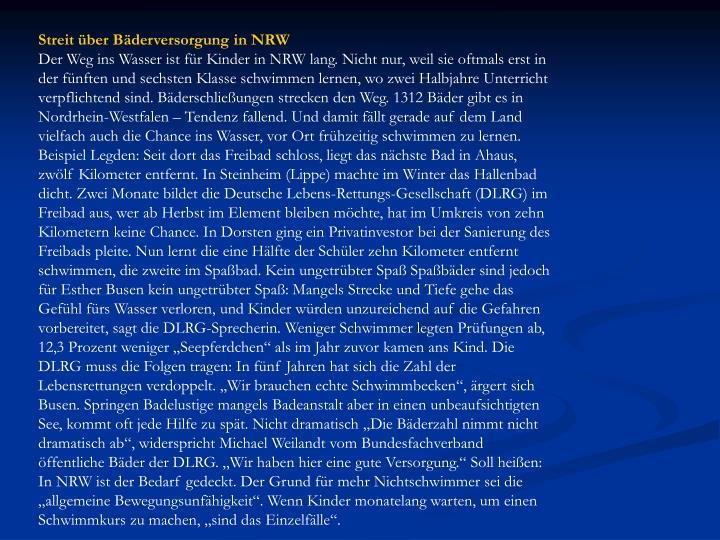 Streit über Bäderversorgung in NRW