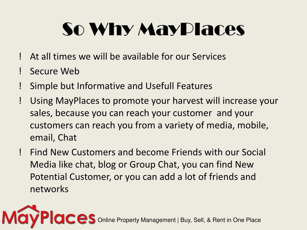 So Why MayPlaces