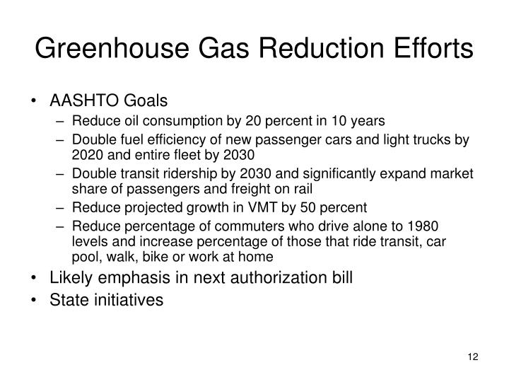 Greenhouse Gas Reduction Efforts