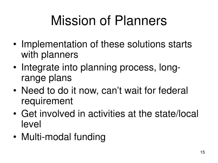 Mission of Planners