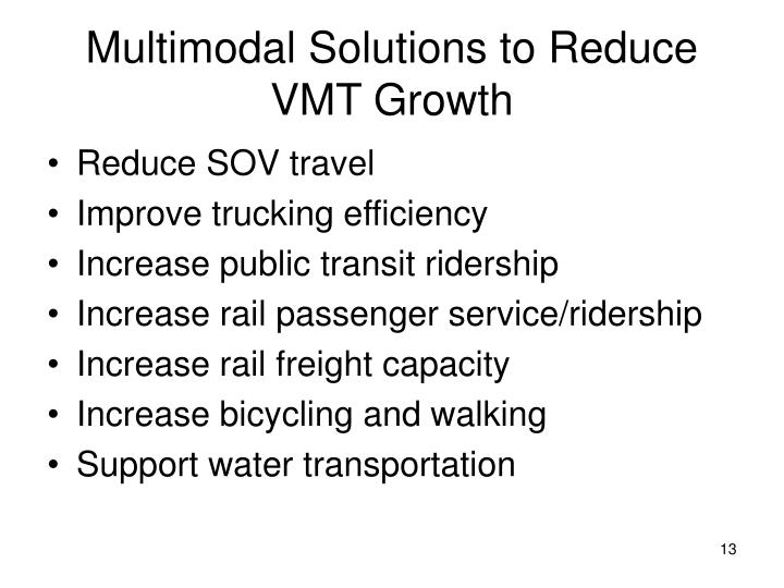 Multimodal Solutions to Reduce VMT Growth