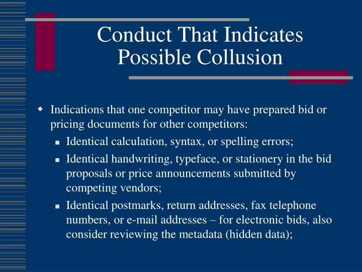 Conduct That Indicates Possible Collusion