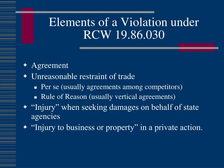 Elements of a Violation under RCW 19.86.030