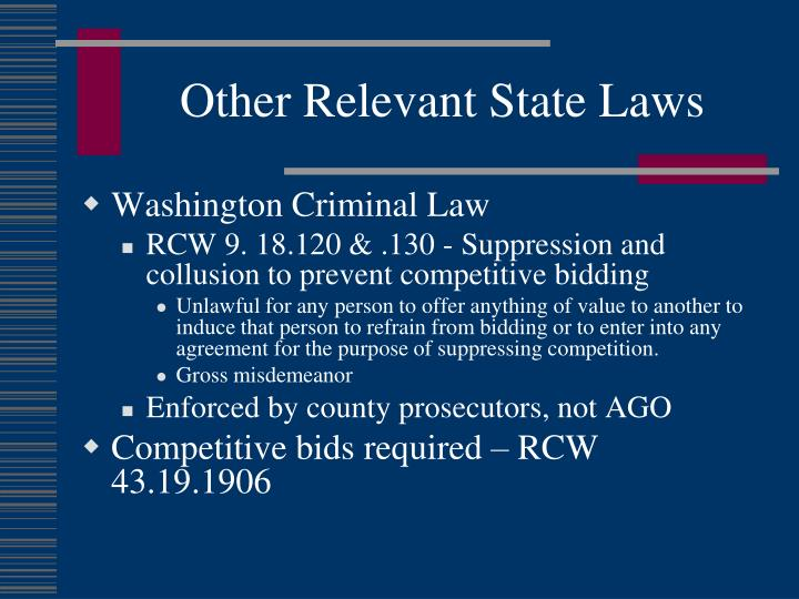 Other Relevant State Laws