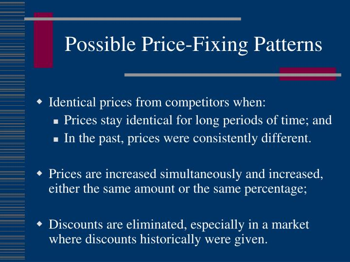 Possible Price-Fixing Patterns