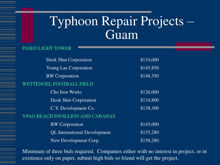 Typhoon Repair Projects –  Guam