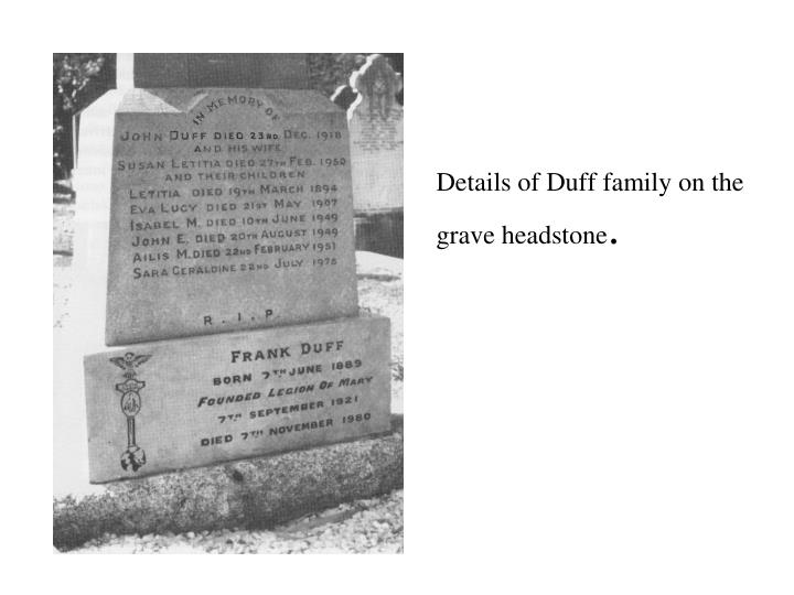 Details of Duff family on the grave headstone