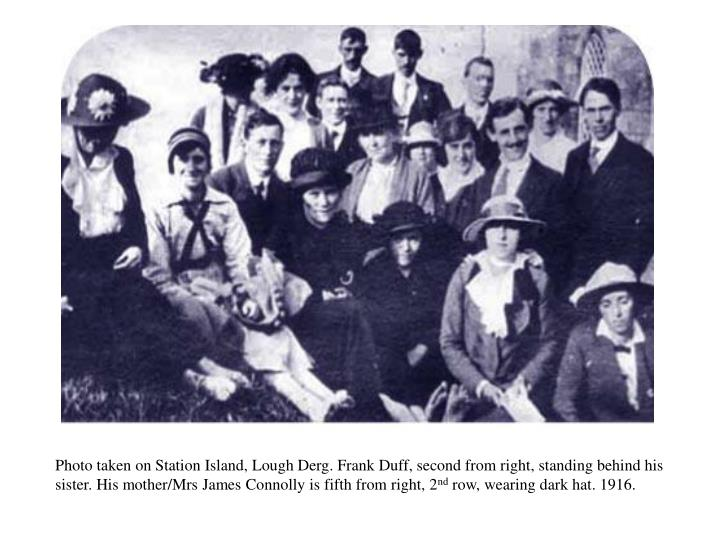 Photo taken on Station Island, Lough Derg. Frank Duff, second from right, standing behind his sister. His mother