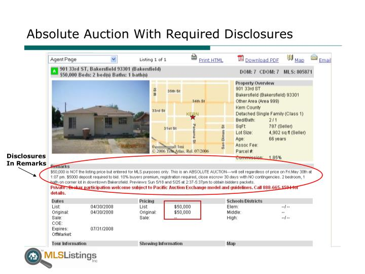 Absolute Auction With Required Disclosures