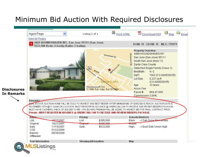 Minimum Bid Auction With Required Disclosures