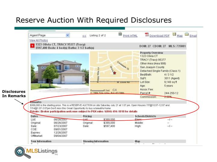 Reserve Auction With Required Disclosures