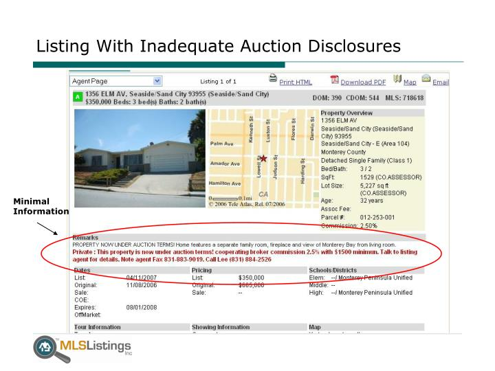 Listing With Inadequate Auction Disclosures