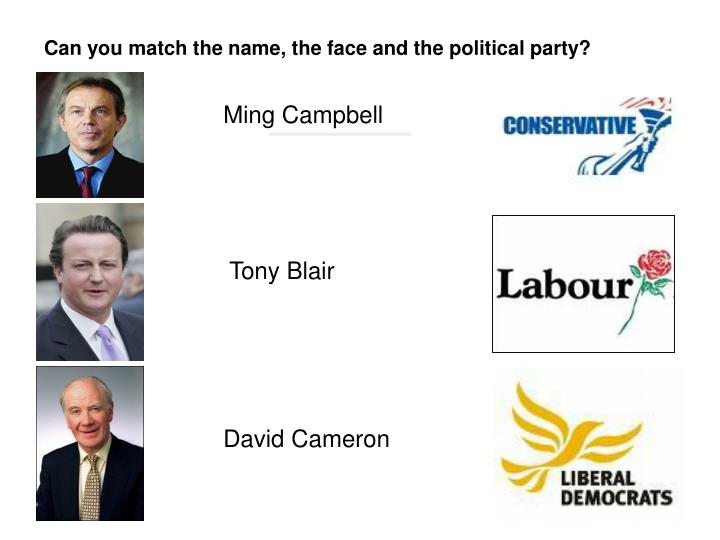 Can you match the name, the face and the political party?