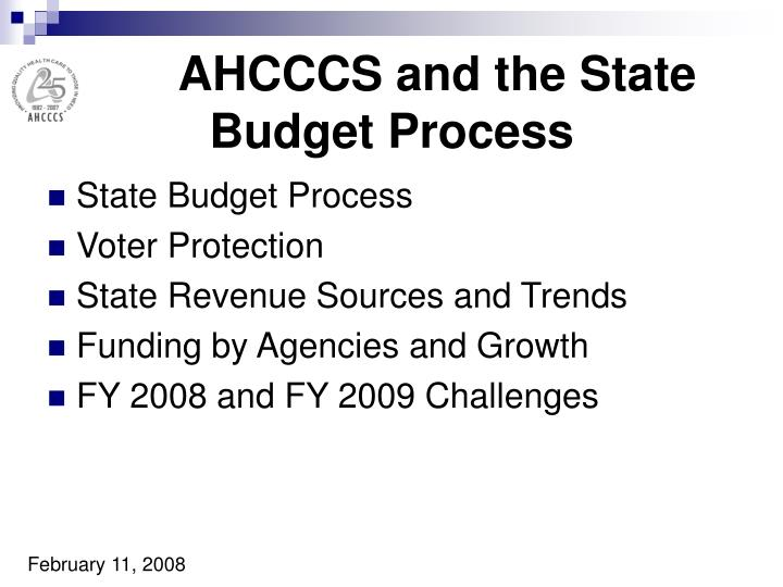 AHCCCS and the State Budget Process