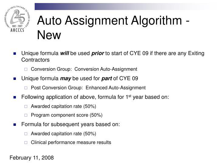 Auto Assignment Algorithm - New