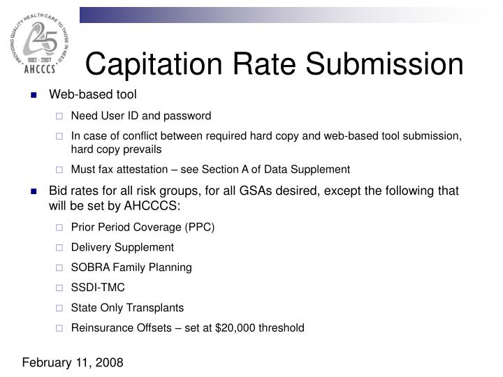 Capitation Rate Submission