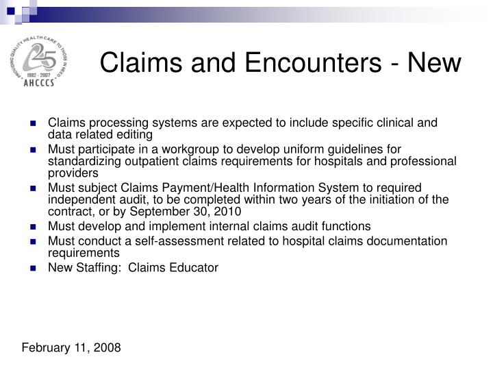 Claims and Encounters - New