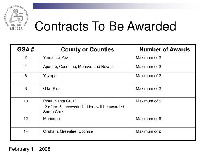 Contracts To Be Awarded