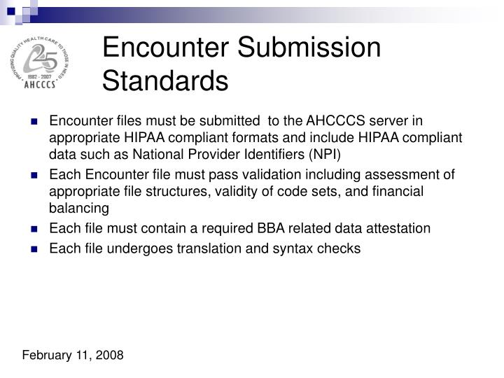 Encounter Submission Standards