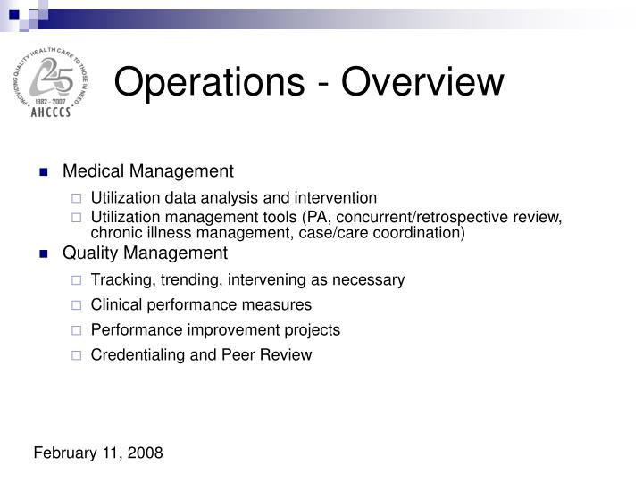 Operations - Overview