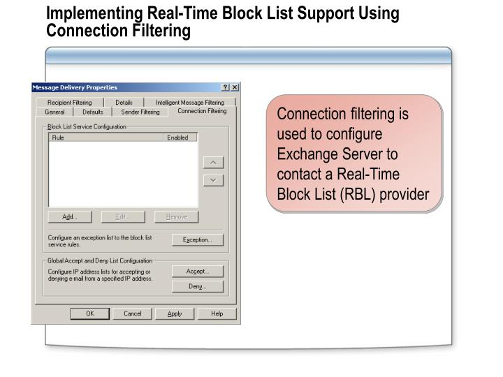 Implementing Real-Time Block List Support Using Connection Filtering