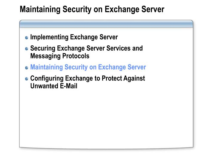 Maintaining Security on Exchange Server