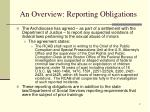 an overview reporting obligations