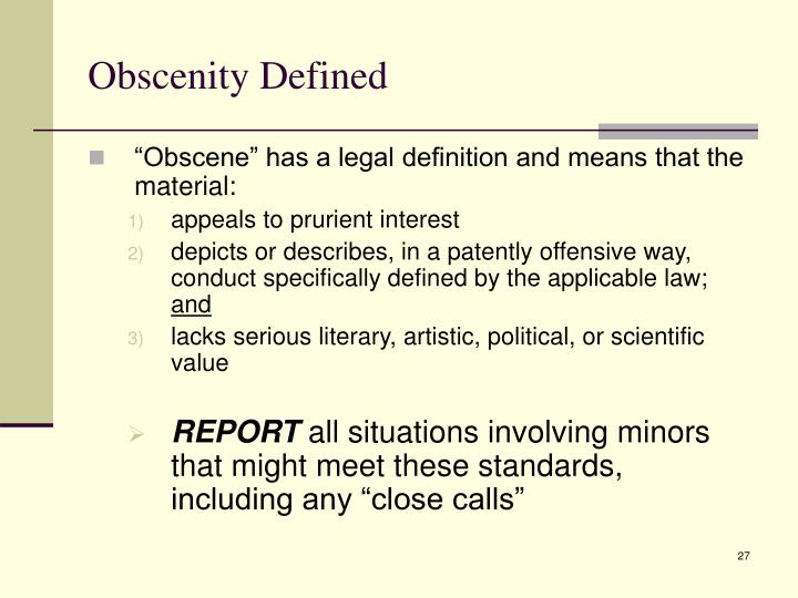 Obscenity Defined