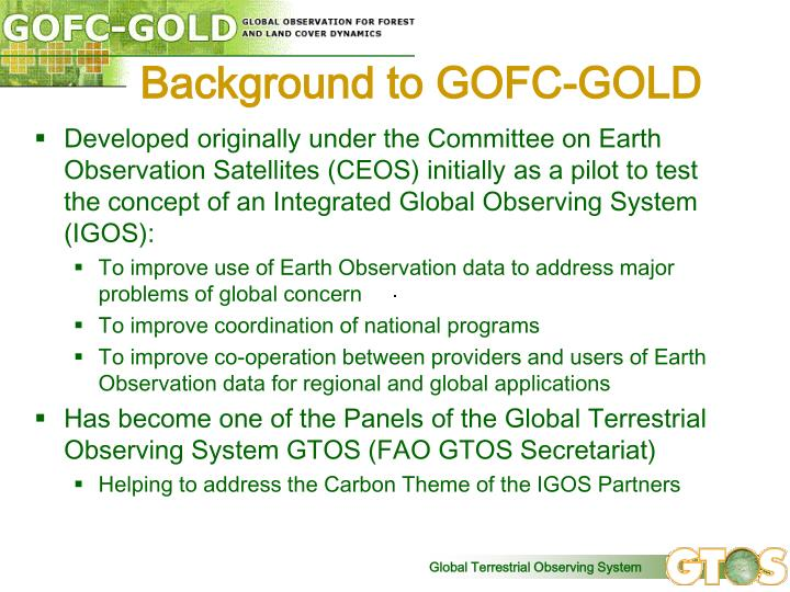 Background to GOFC-GOLD