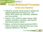 forest biophysical processes goals and objectives