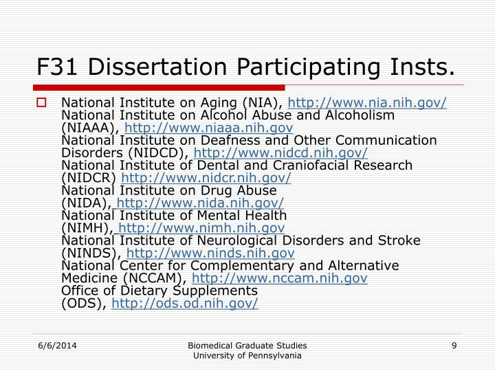 F31 Dissertation Participating Insts.