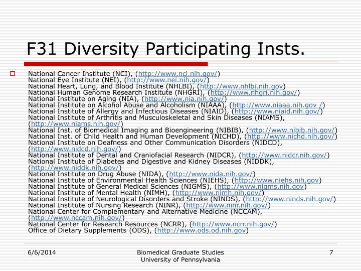 F31 Diversity Participating Insts.