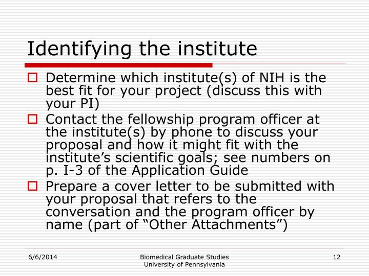 Identifying the institute