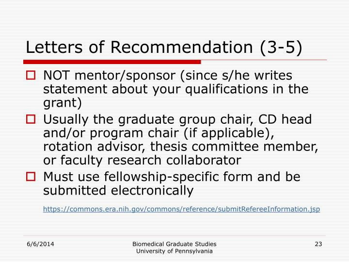 Letters of Recommendation (3-5)