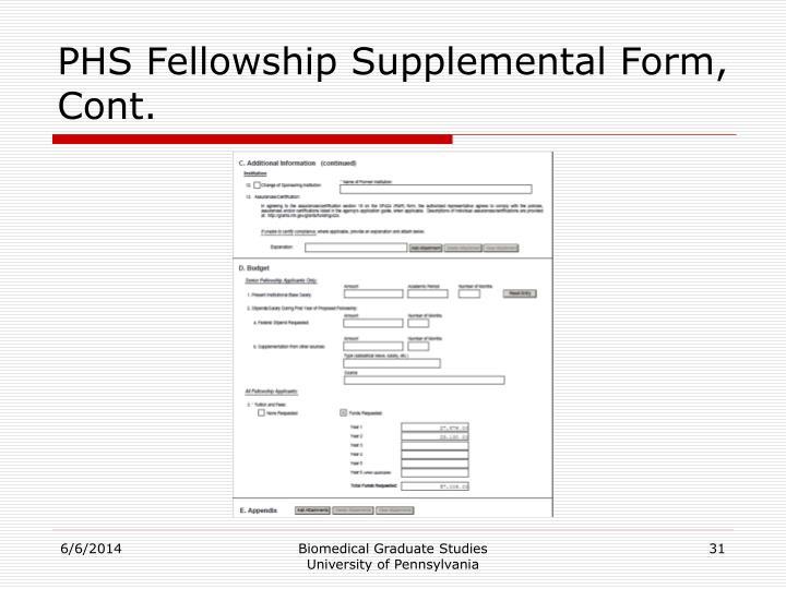 PHS Fellowship Supplemental Form, Cont.