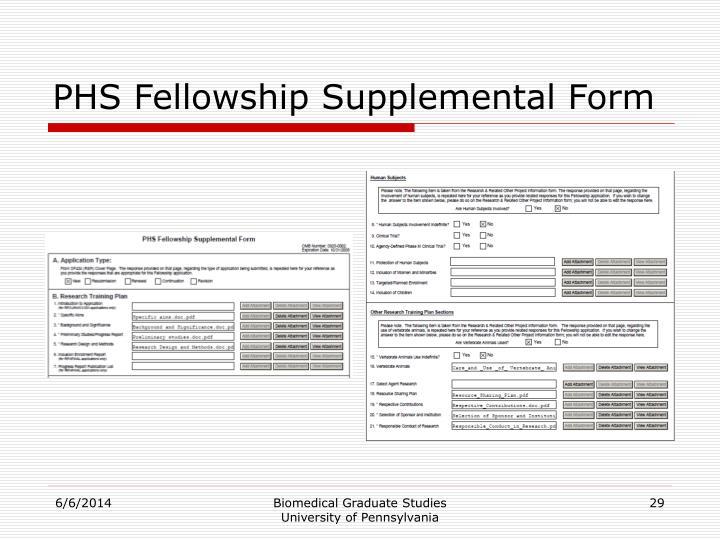 PHS Fellowship Supplemental Form