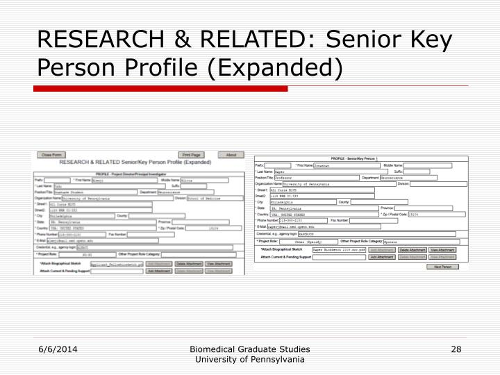 RESEARCH & RELATED: Senior Key Person Profile (Expanded)