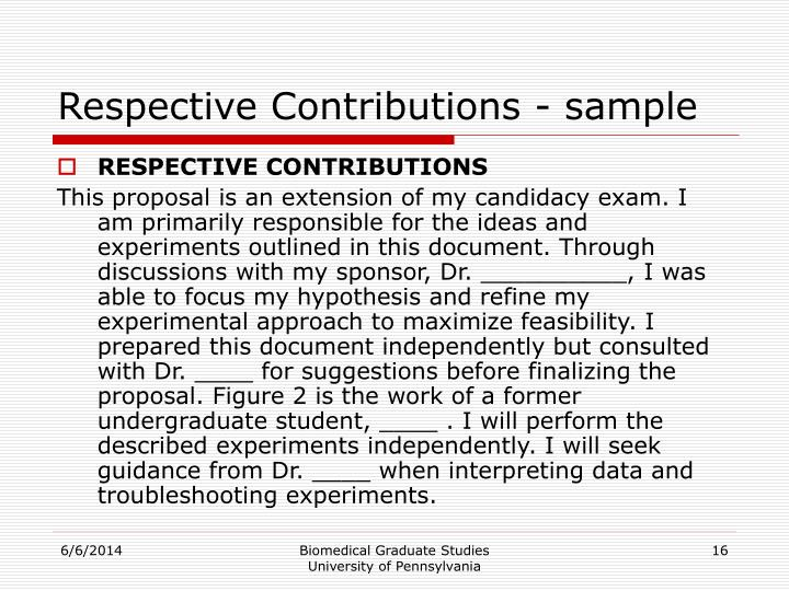 Respective Contributions - sample