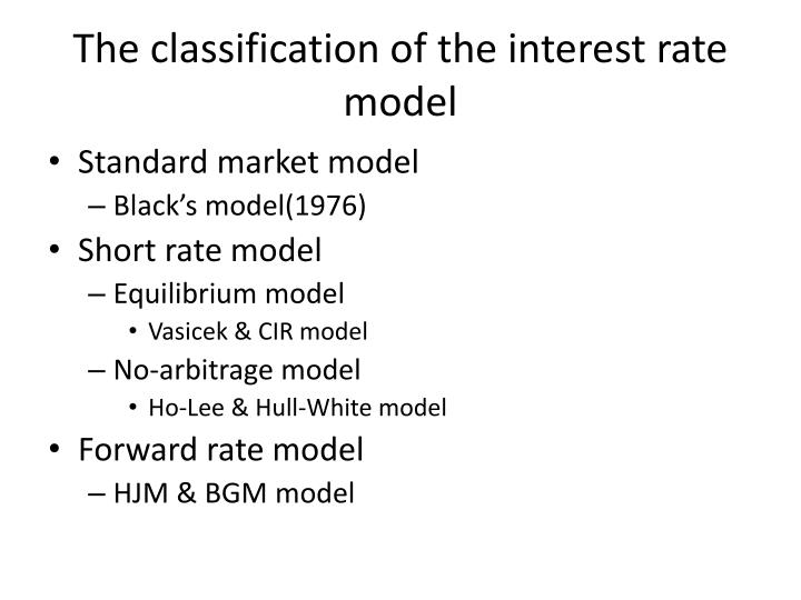 The classification of the interest rate model
