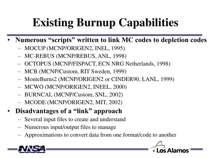 Existing Burnup Capabilities