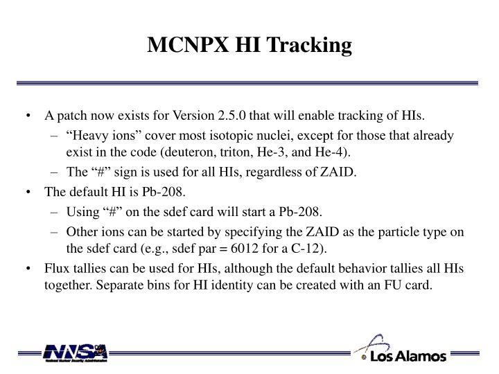 MCNPX HI Tracking
