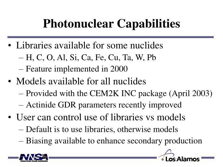 Photonuclear Capabilities