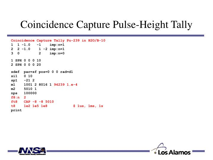 Coincidence Capture Pulse-Height Tally