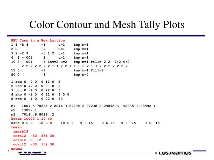Color Contour and Mesh Tally Plots