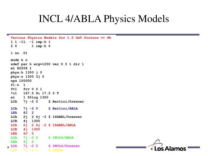 INCL 4/ABLA Physics Models