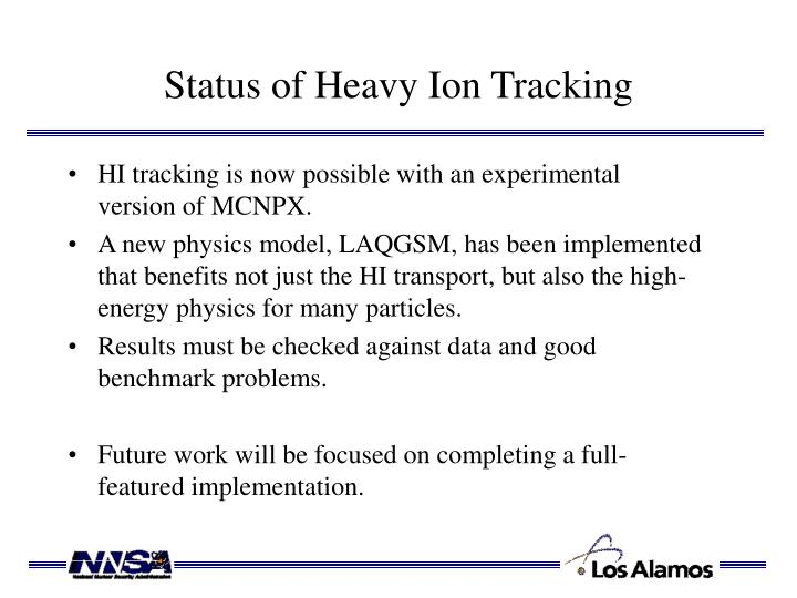 Status of Heavy Ion Tracking