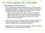 fy 2009 areas of concern